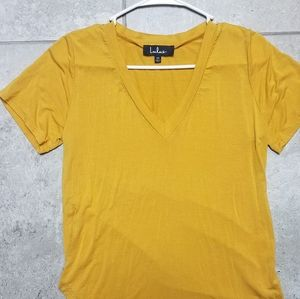 Lulus mustard color v-neck shirt